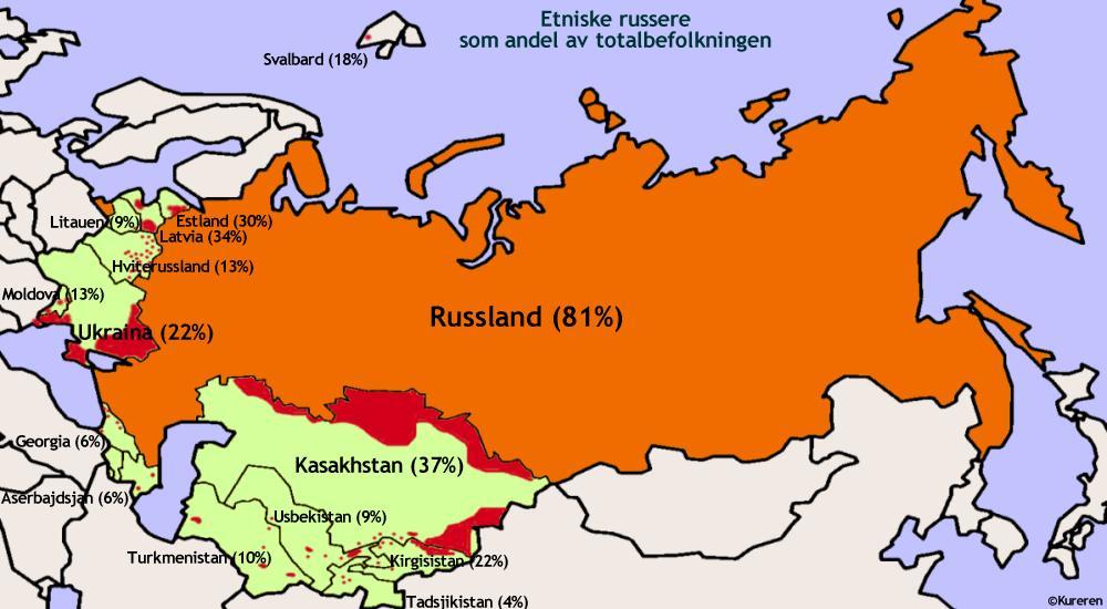kart over tidligere sovjetunionen Kureren   Putins nye doktrine skaper frykt i 13 land kart over tidligere sovjetunionen